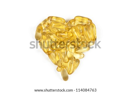 Fish oil capsules arranged in heart shape