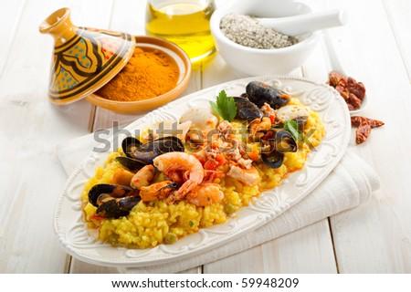 fish paella - stock photo