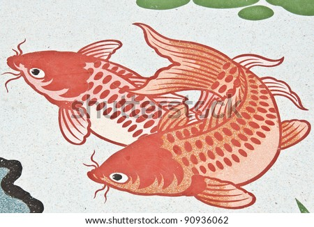 fish painting on chinese temple wall