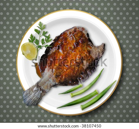 FISH: Pecan encrusted Flounder served with an apricot sauce and roasted okra