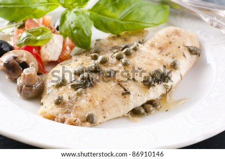 Fish piccata with capers