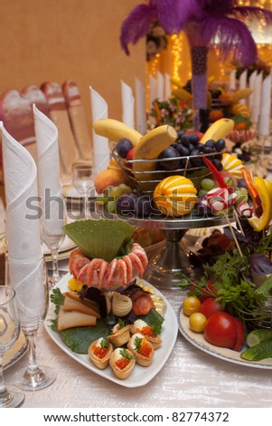 Fish plate appetizer on a banquet table with selective focus