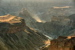 Fish River Canyon in sunset light. Shot in Namibia.