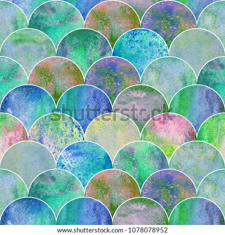 Fish scale ocean wave japanese seamless pattern. Watercolor hand drawn blue teal colorful texture background. Watercolour geometrical scale shaped elements. Print for textile, wallpaper, wrapping