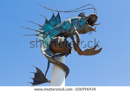 Fish Sculpture Known as the Barbican Prawn, Plymouth Devon England UK
