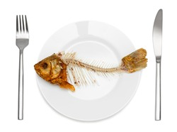 Fish skeleton on the plate - symbol for food shortage and misery. Isolated on white background.