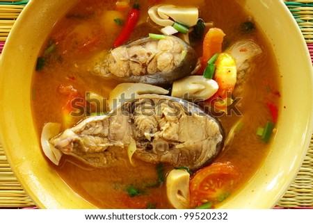 Fish soup flavored with lemongrass and lime,hot soup of Thailand