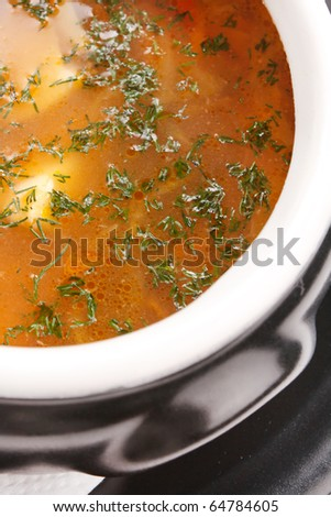 fish soup in the pot