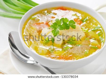 Fish Soup. Selective focus - stock photo