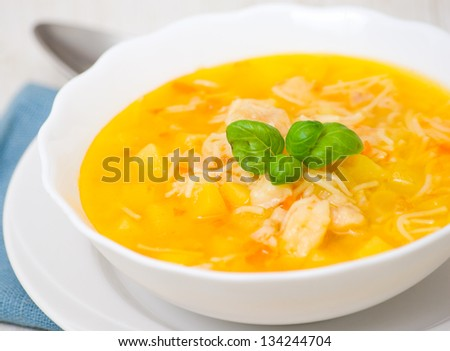 Fish soup with potato and pasta