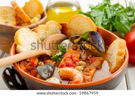 fish soup with toasted bread