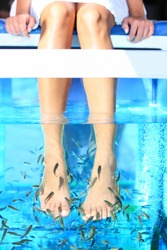 Fish Spa Rufa Garra pedicure treatment. Woman enjoying skin care fish spa beauty treatment.