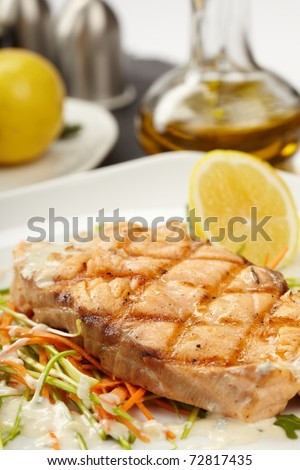 Fish steak with vegetables