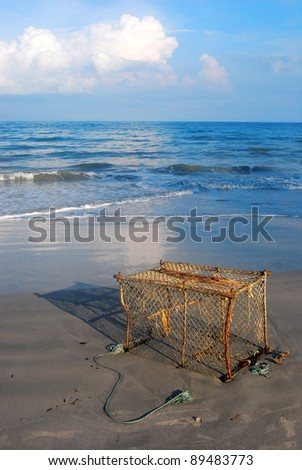 fish traps on the beach in Thailand