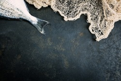 Fish with fishing net on dark vintage background