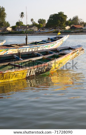 Fisher boats in the harbour of Saint Louis in Senegal