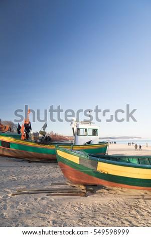 Fisher boats on the beach of Sopot, Poland Zdjęcia stock ©