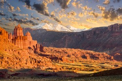Fisher Towers jagged red rock formation near Moab, Utah