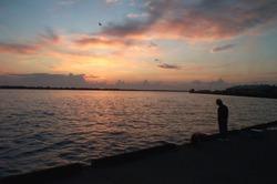 Fisherman at the Port of Sakata, Japan at Sunset