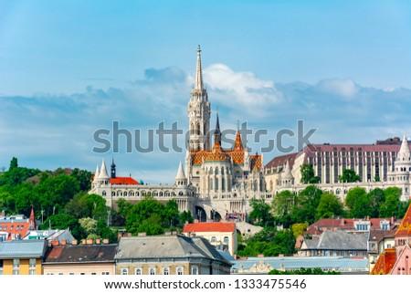 Fisherman Bastion and Matthias Church in Budapest, Hungary #1333475546