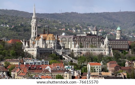 Fisherman bastion and Matthias church panorama from Budapest