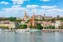 Fisherman Bastion over Danube river in Budapest, Hungary