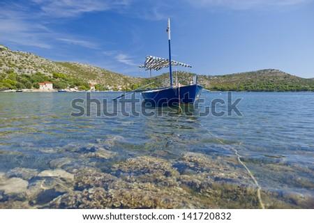 Fisherman boat at Skrivena Luka, Lastovo, Croatia.