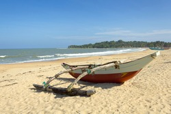 Fisherman boat at the beach. Arugam Bay,Sri Lanka