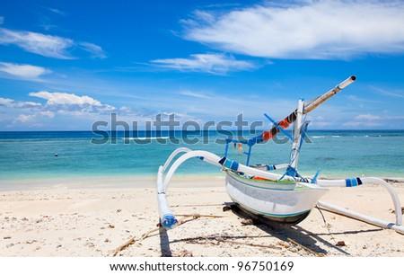 Fisherman boat on beach  Gili island, Trawangan, Indonesia