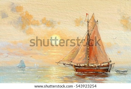 Fisherman boat, paintings oil, paintings, fishing, ocean, sea, sky, canvas,  fisherman, beach, boats, landscape, art, coast, background,  harbor, paint, illustration, fish