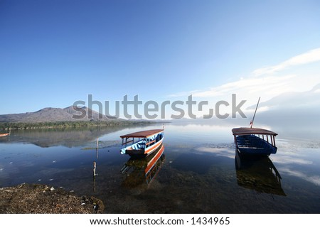Fisherman boats at Batur Lake, Bali - Indonesia