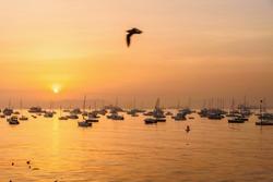 Fisherman boats in water of Arabian Sea in Mumbai on sunrise. India