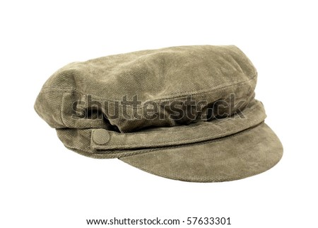 Fisherman cap with band across the bow attached with buttons - path included