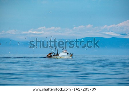 fisherman fishing boat boat with many seagulls #1417283789
