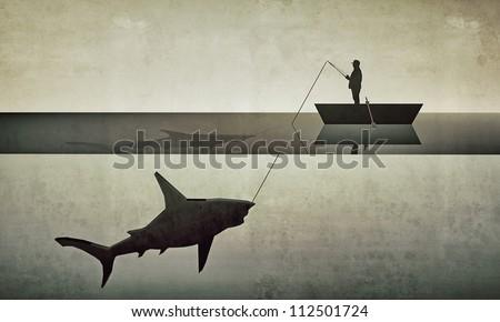 fisherman hunting a big shark in old grunge photo