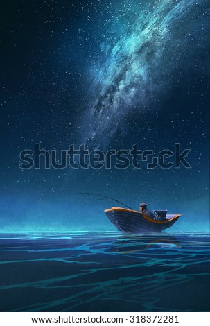 Stock Photo fisherman in a boat at night under the Milky way,illustration painting