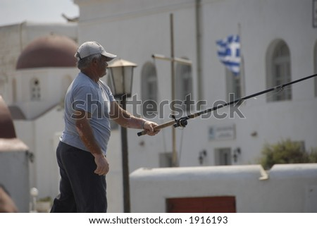 Fisherman in Mykonos, Greece