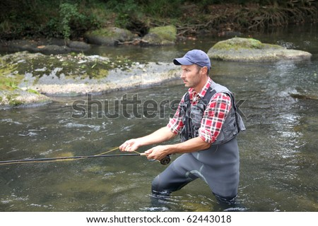 Fisherman in river with fly fishing line