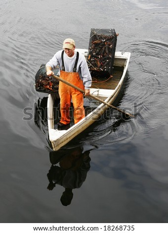 fisherman in rowboat with live lobsters in traps