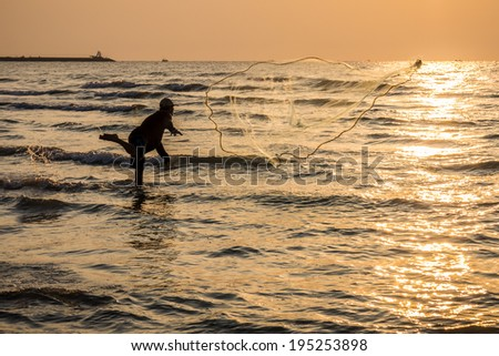 Fisherman is fishing in the sea #195253898