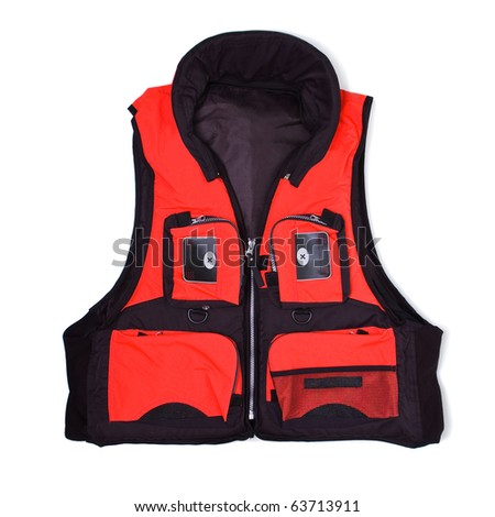 Fisherman life jacket with pockets isolated on white background