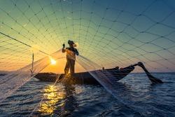 Fisherman net sunset Silhouette boat