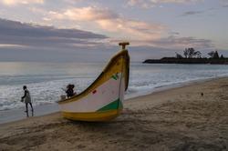 Fisherman returns from day long fishing on the shores of Mamallapuram aka Mahabalipuram in Tamil Nadu, India