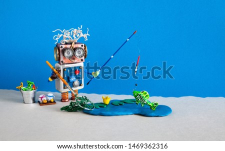 Fisherman robot caught big fish. Angler accessories rod bucket bait. Fishing and vacation Robotic concept.blue lake with water lily and fishes. Blue gray background #1469362316