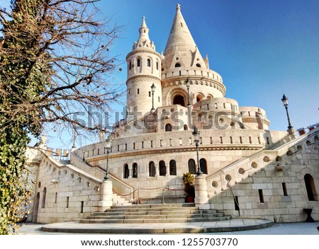 Fisherman's bastion in Budapest Hungary. View on white towers of the bastion. Late winter, early spring. Stock photo ©