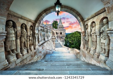 Fisherman's Bastion, popular tourist attraction in Budapest, Hungary Stock photo ©