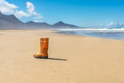 fisherman's boot lost on the long sandy beach of cofete in fuerteventura, spain