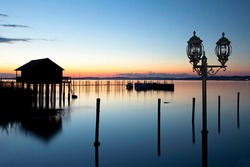 Fisherman's hut with a lantern on Lake Constance near Altnau, Switzerland, Europe