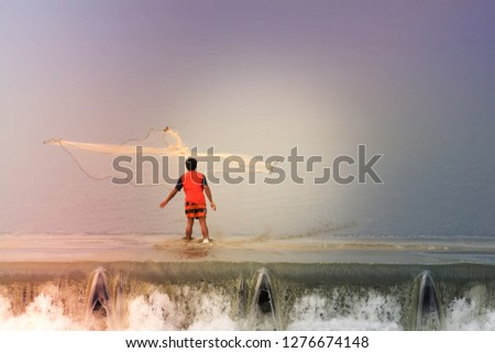 Fisherman,Silhouette of fisherman catching fish in lake. #1276674148