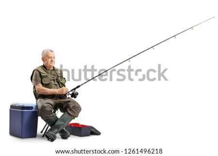 Fisherman sitting on a chair with a fishing rod isolated on white background
